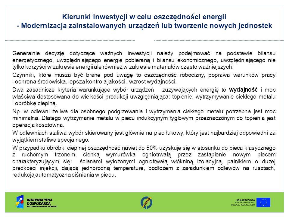 Kierunki inwestycji w celu oszczędności energii - Modernizacja zainstalowanych urządzeń lub tworzenie nowych jednostek Generalnie decyzję dotyczące wa