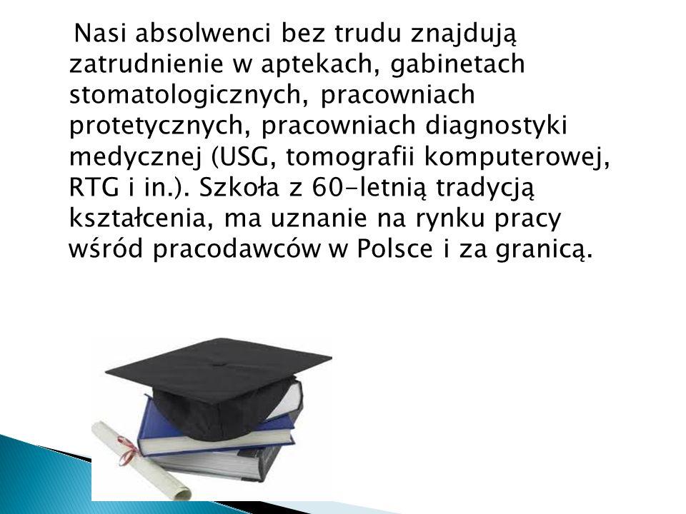 Nasi absolwenci bez trudu znajdują zatrudnienie w aptekach, gabinetach stomatologicznych, pracowniach protetycznych, pracowniach diagnostyki medycznej