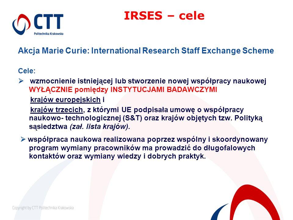 Akcja Marie Curie: International Research Staff Exchange Scheme Cele: wzmocnienie istniejącej lub stworzenie nowej współpracy naukowej WYŁĄCZNIE pomię