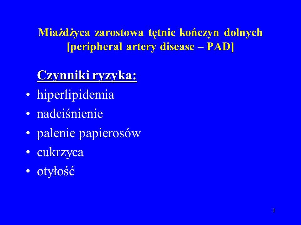 1 Miażdżyca zarostowa tętnic kończyn dolnych [peripheral artery disease – PAD] Czynniki ryzyka: Czynniki ryzyka: hiperlipidemia nadciśnienie palenie p