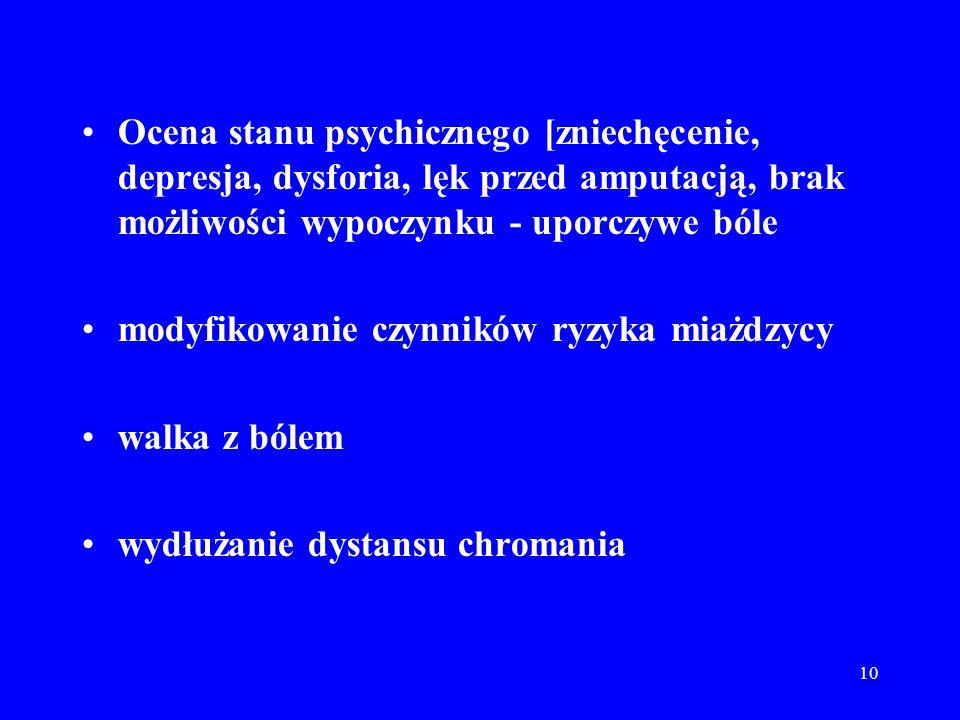 10 Ocena stanu psychicznego [zniechęcenie, depresja, dysforia, lęk przed amputacją, brak możliwości wypoczynku - uporczywe bóle modyfikowanie czynnikó