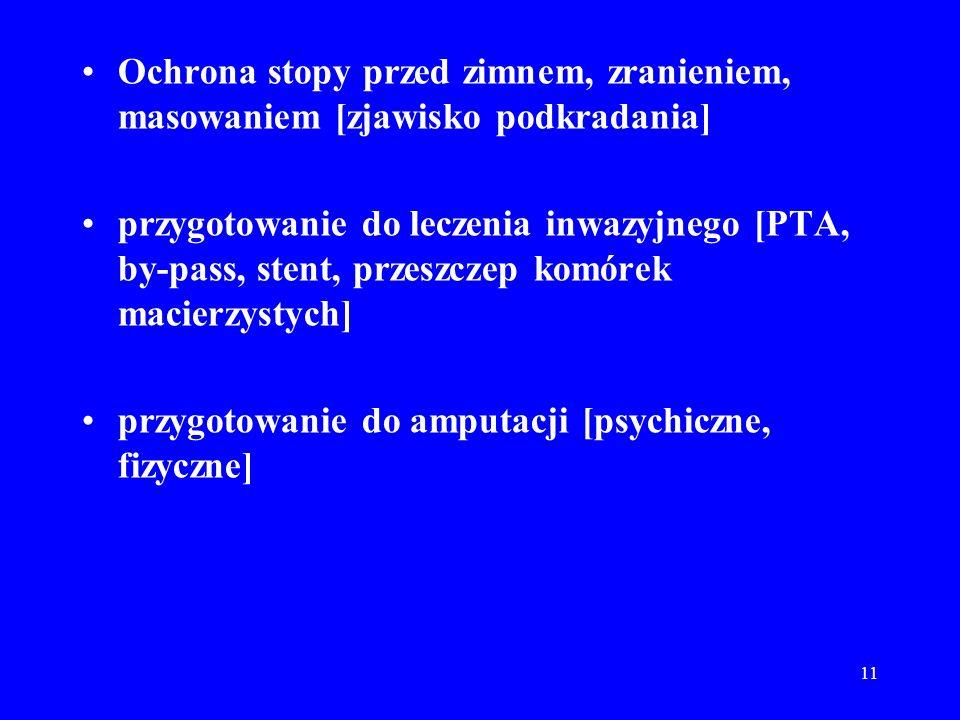 11 Ochrona stopy przed zimnem, zranieniem, masowaniem [zjawisko podkradania] przygotowanie do leczenia inwazyjnego [PTA, by-pass, stent, przeszczep ko