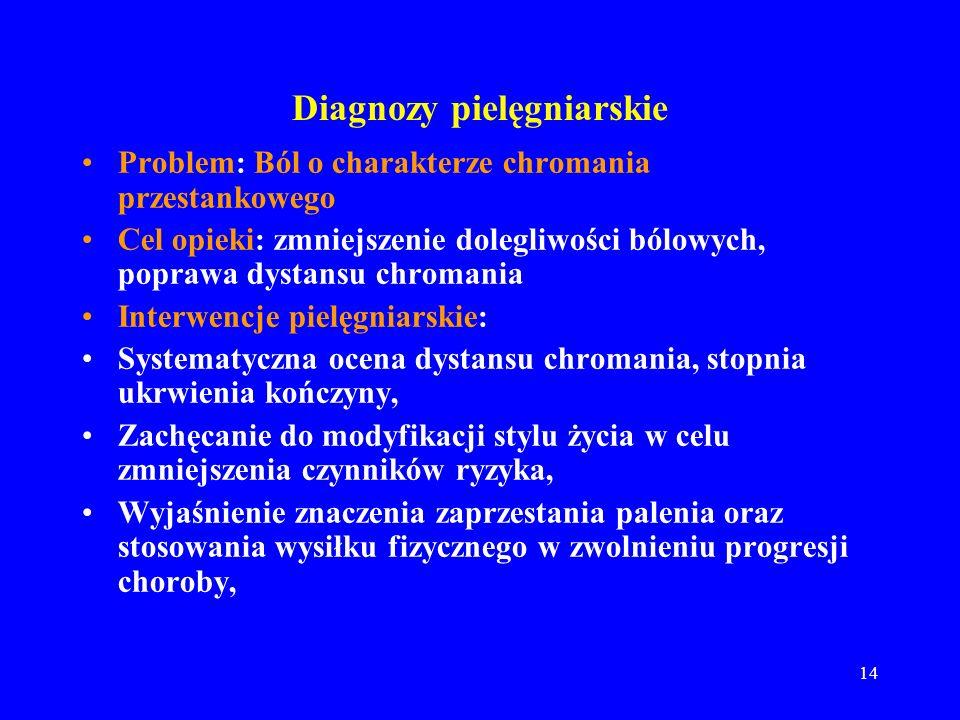 14 Diagnozy pielęgniarskie Problem: Ból o charakterze chromania przestankowego Cel opieki: zmniejszenie dolegliwości bólowych, poprawa dystansu chroma