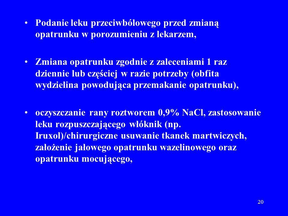 20 Podanie leku przeciwbólowego przed zmianą opatrunku w porozumieniu z lekarzem, Zmiana opatrunku zgodnie z zaleceniami 1 raz dziennie lub częściej w