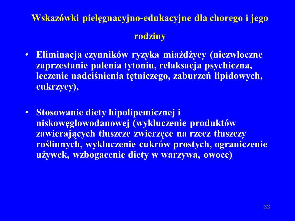 22 Wskazówki pielęgnacyjno-edukacyjne dla chorego i jego rodziny Eliminacja czynników ryzyka miażdżycy (niezwłoczne zaprzestanie palenia tytoniu, rela