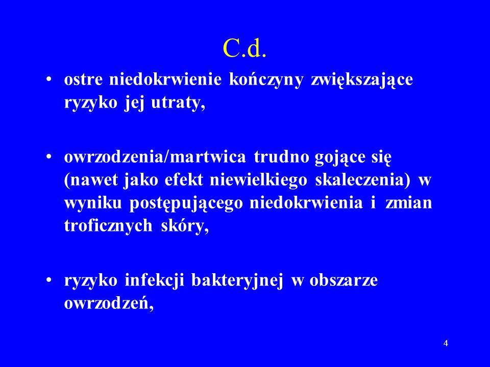 4 C.d. ostre niedokrwienie kończyny zwiększające ryzyko jej utraty, owrzodzenia/martwica trudno gojące się (nawet jako efekt niewielkiego skaleczenia)