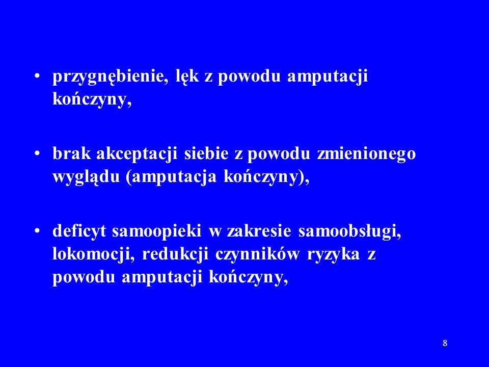 19 Problem: Owrzodzenie niedokrwienne Cel opieki: dążenie do wygojenia owrzodzenia Interwencje pielęgniarskie: Obserwacja wielkości owrzodzenia, wysięku, jego charakteru, skóry wokół rany, pojawienia się martwicy – określenie jej charakteru (sucha, wilgotna), Odciążenie kończyny (zmniejszenie nacisku na stopę- ograniczenie chodzenia), Ułatwienie poruszania się (laski łokciowe, wózek inwalidzki), Ochrona rany przed infekcją (aseptyka, antyseptyka),