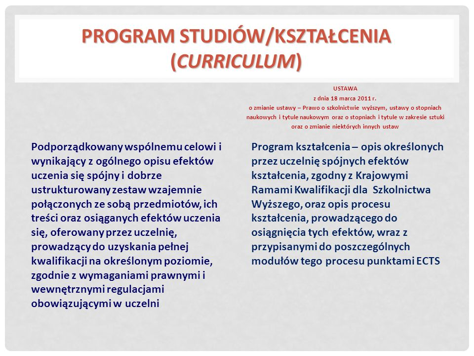 Moduł/przedmiot Jednostka programu studiów/kształcenia posiadająca wyodrębnione cele i efekty kształcenia, zgodne z celem i efektami programu kształcenia, realizowana w oparciu o specyficzne dla niej metody nauczania i uczenia się oraz oceny i potwierdzania efektów kształcenia Cel programu studiów/kształcenia/modułu/przedmiotu Szeroki, ogólny opis intencji kształcenia; wskazuje na to co nauczyciel zamierza osiągnąć w programie kształcenia/modułu/przedmiotu.