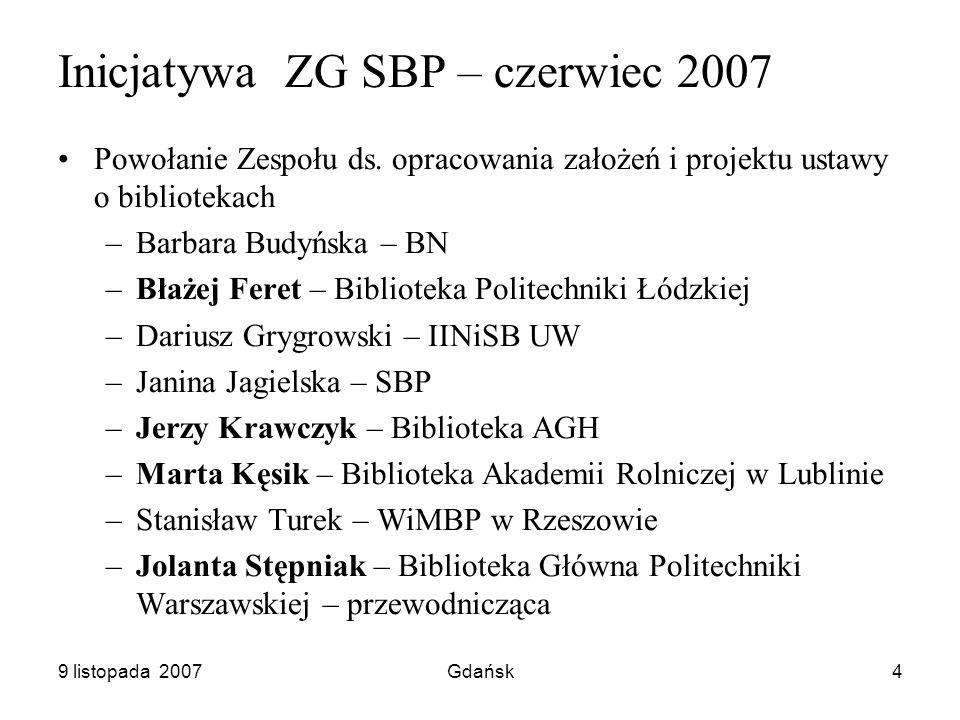 9 listopada 2007Gdańsk4 Inicjatywa ZG SBP – czerwiec 2007 Powołanie Zespołu ds.