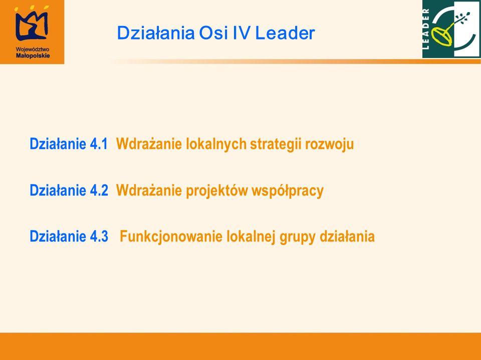 Działanie 4.1 Wdrażanie lokalnych strategii rozwoju Działanie 4.2 Wdrażanie projektów współpracy Działanie 4.3 Funkcjonowanie lokalnej grupy działania