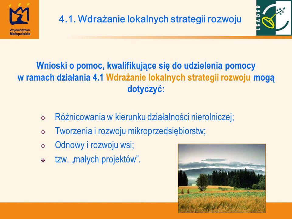 4.1. Wdrażanie lokalnych strategii rozwoju Wnioski o pomoc, kwalifikujące się do udzielenia pomocy w ramach działania 4.1 Wdrażanie lokalnych strategi