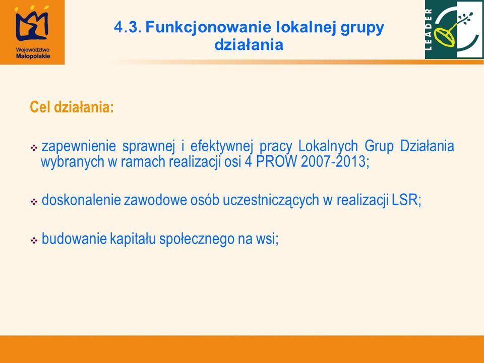 Cel działania: zapewnienie sprawnej i efektywnej pracy Lokalnych Grup Działania wybranych w ramach realizacji osi 4 PROW 2007-2013; doskonalenie zawod