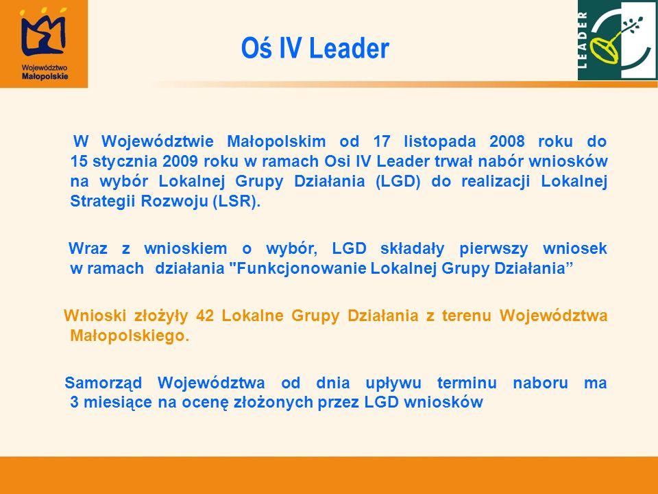 W Województwie Małopolskim od 17 listopada 2008 roku do 15 stycznia 2009 roku w ramach Osi IV Leader trwał nabór wniosków na wybór Lokalnej Grupy Dzia