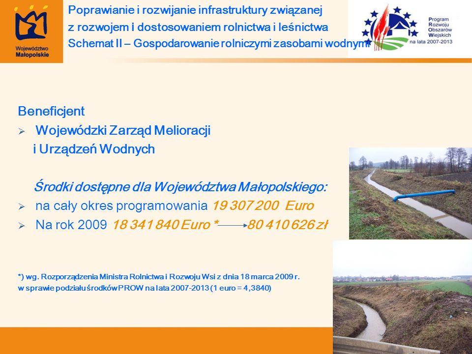 Beneficjent Wojewódzki Zarząd Melioracji i Urządzeń Wodnych Środki dostępne dla Województwa Małopolskiego: na cały okres programowania 19 307 200 Euro