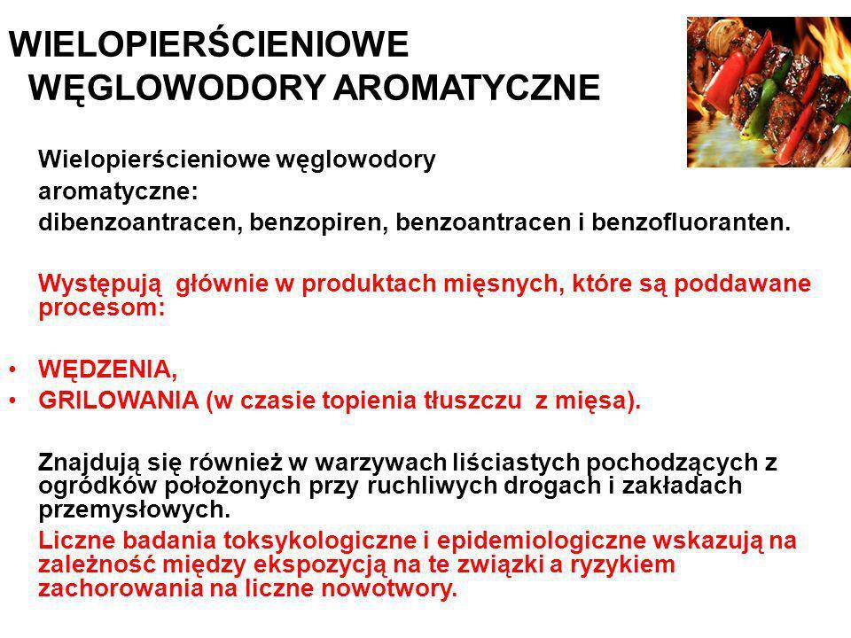WIELOPIERŚCIENIOWE WĘGLOWODORY AROMATYCZNE Wielopierścieniowe węglowodory aromatyczne: dibenzoantracen, benzopiren, benzoantracen i benzofluoranten. W