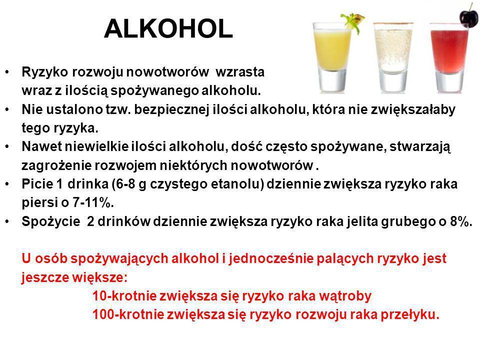 Ryzyko rozwoju nowotworów wzrasta wraz z ilością spożywanego alkoholu. Nie ustalono tzw. bezpiecznej ilości alkoholu, która nie zwiększałaby tego ryzy
