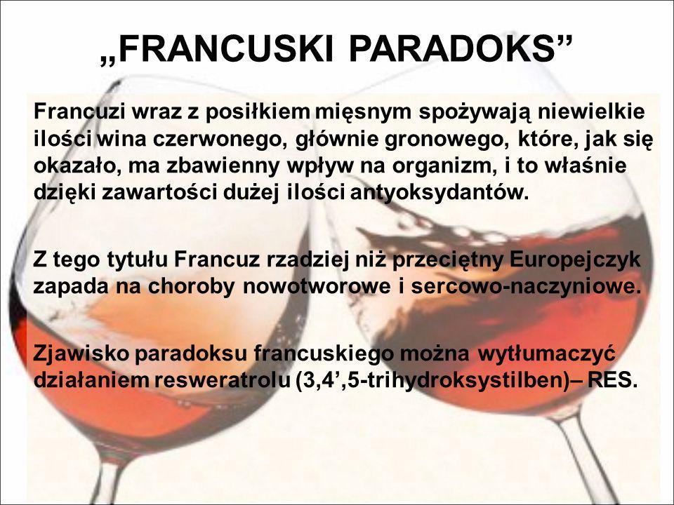 FRANCUSKI PARADOKS Francuzi wraz z posiłkiem mięsnym spożywają niewielkie ilości wina czerwonego, głównie gronowego, które, jak się okazało, ma zbawie