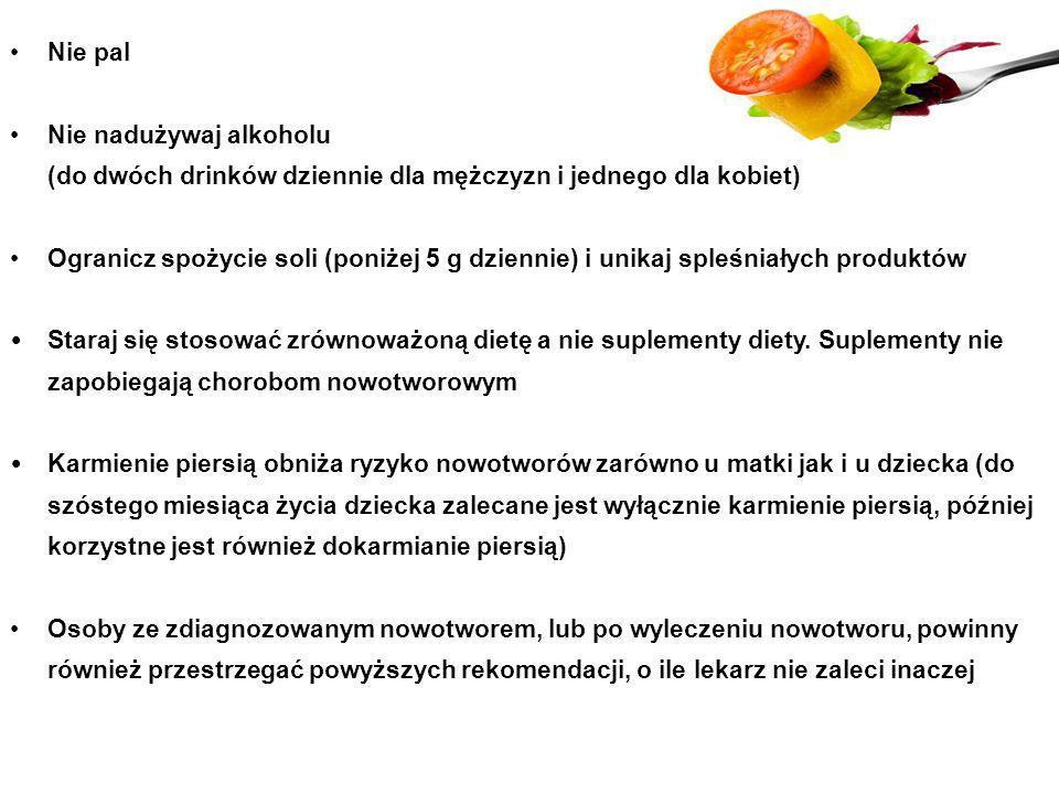 Nie pal Nie nadużywaj alkoholu (do dwóch drinków dziennie dla mężczyzn i jednego dla kobiet) Ogranicz spożycie soli (poniżej 5 g dziennie) i unikaj sp