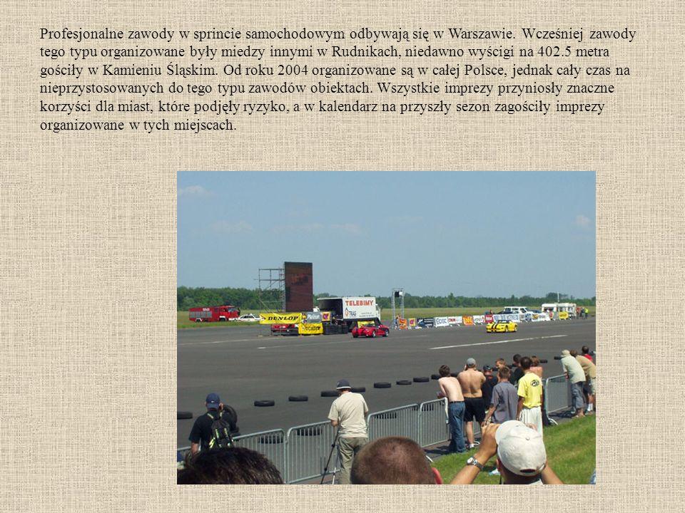 Profesjonalne zawody w sprincie samochodowym odbywają się w Warszawie.