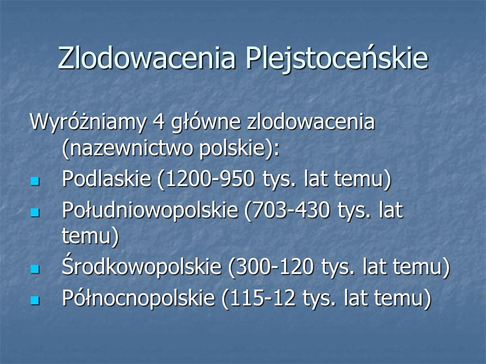 Zlodowacenia Plejstoceńskie Wyróżniamy 4 główne zlodowacenia (nazewnictwo polskie): Podlaskie (1200-950 tys. lat temu) Podlaskie (1200-950 tys. lat te