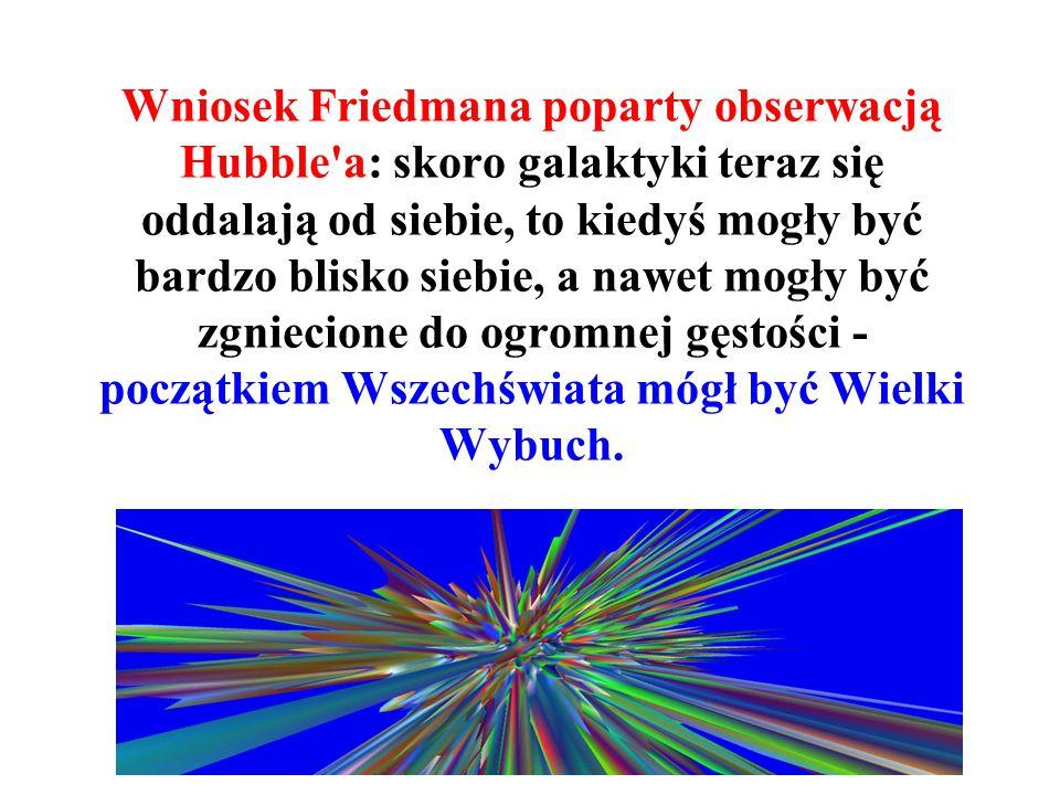 ...zaobserwował, że wszystkie bliskie galaktyki oddalają się od Ziemi z określoną prędkością, którą zmierzył (parametr Hubble'a, 1928).