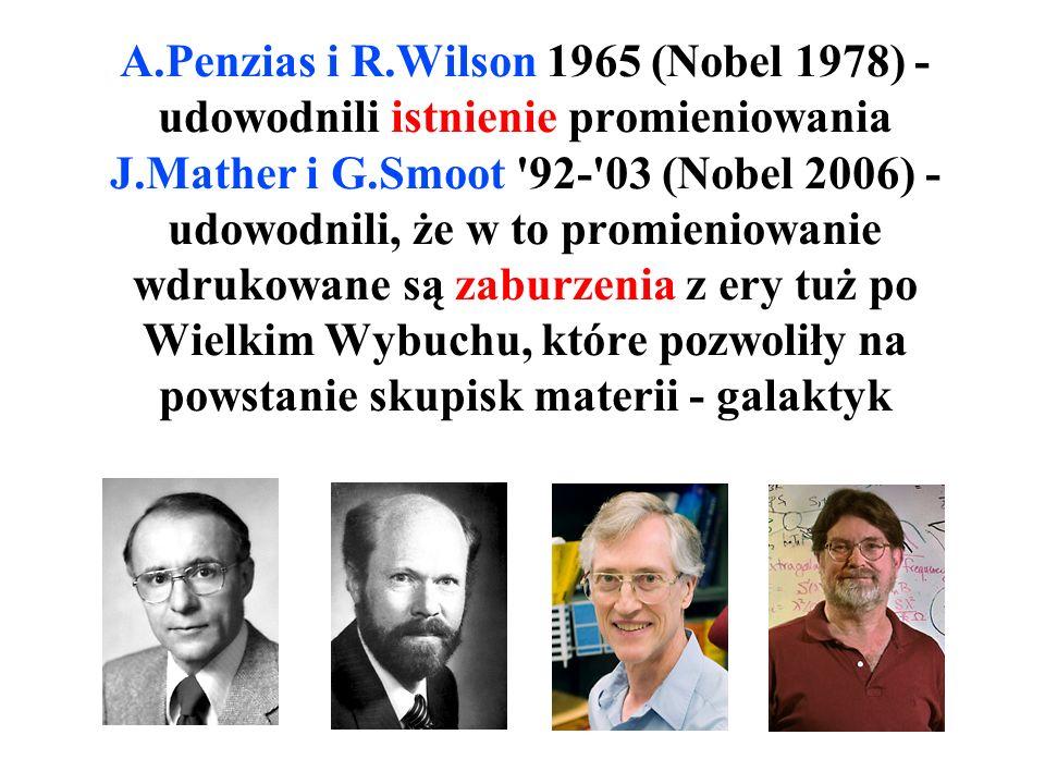 Mikrofalowe promieniowanie tła - koronny dowód istnienia gęstej zupy protonów, elektronów i fal elektromagnety- cznych 300.000 lat po Wielkim Wybuchu.