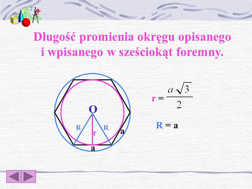 r R a a r = R =R = Długość promienia okręgu opisanego i wpisanego w trójkąt równoboczny. O
