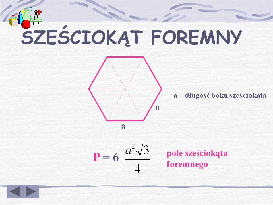 a a h a TRÓJKĄT RÓWNOBOCZNY a – długość boku trójkąta równobocznego P = pole trójkąta równobocznego