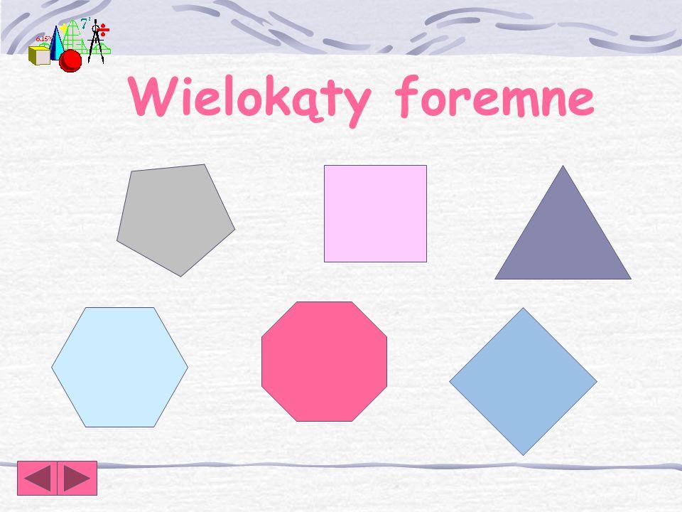 Wielokąt foremny Wielokątem foremnym nazywamy wielokąt, który ma wszystkie boki jednakowej długości i wszystkie kąty jednakowej miary.