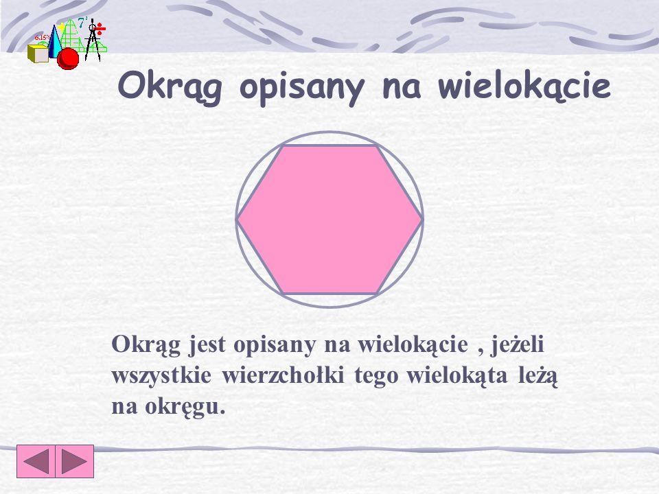 Okrąg opisany na wielokącie Okrąg jest opisany na wielokącie, jeżeli wszystkie wierzchołki tego wielokąta leżą na okręgu.