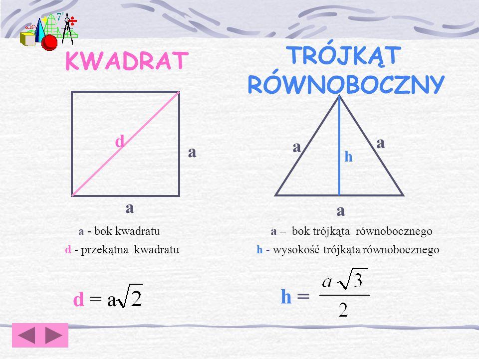 Pytanie 6. Podaj wzór na długość promienia okręgu wpisanego w kwadrat.