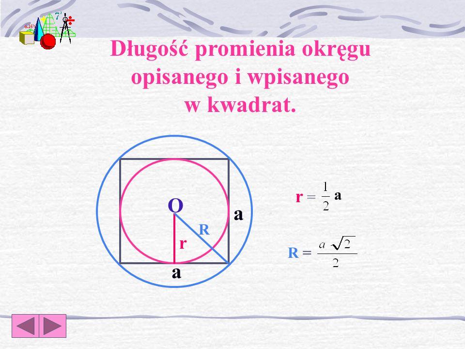 R = r = r = a r R a a Długość promienia okręgu opisanego i wpisanego w kwadrat. O