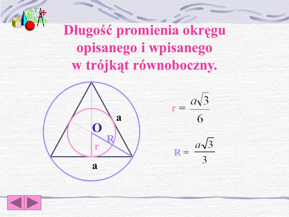 Pytanie 8. Podaj wzór na długość promienia okręgu wpisanego w trójkąt równoboczny.