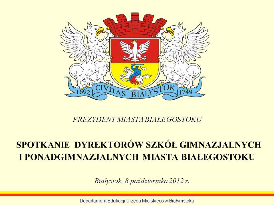 Zestawienie wyników egzaminu potwierdzającego kwalifikacje zawodowe przeprowadzonego w roku 2012 Departament Edukacji Urzędu Miejskiego w Białymstoku