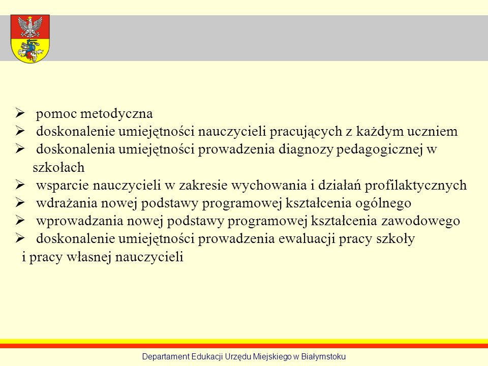 Departament Edukacji Urzędu Miejskiego w Białymstoku pomoc metodyczna doskonalenie umiejętności nauczycieli pracujących z każdym uczniem doskonalenia