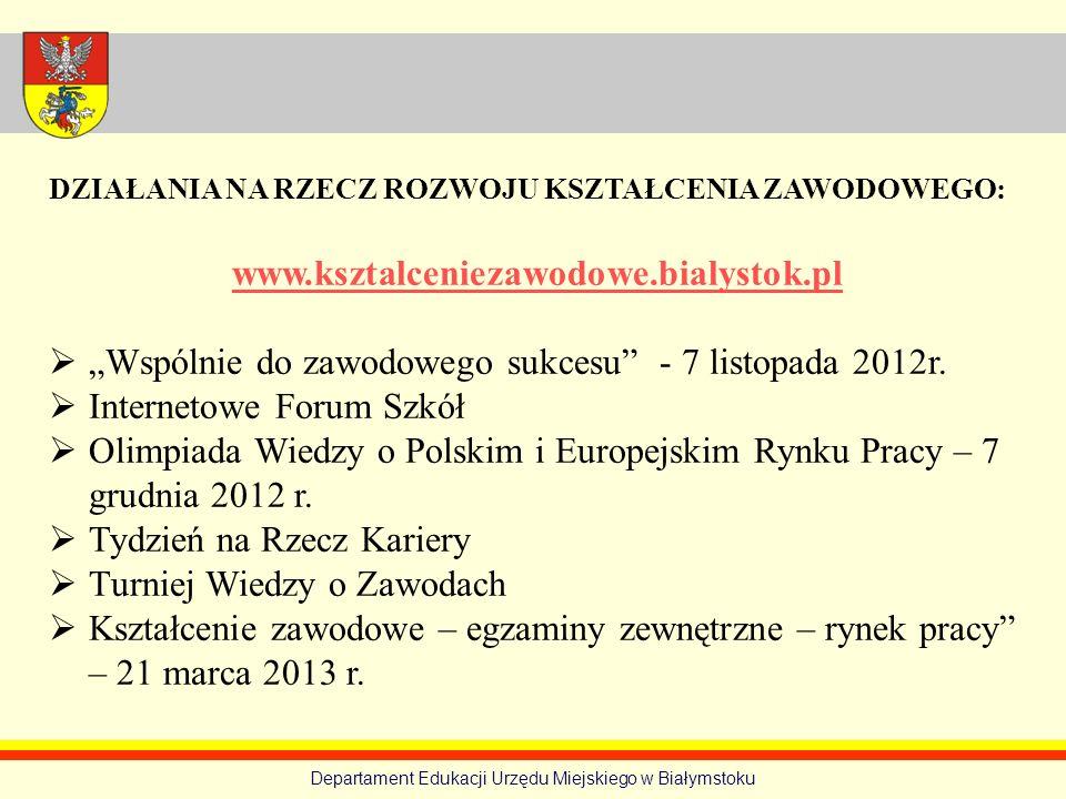 Departament Edukacji Urzędu Miejskiego w Białymstoku DZIAŁANIA NA RZECZ ROZWOJU KSZTAŁCENIA ZAWODOWEGO: www.ksztalceniezawodowe.bialystok.pl Wspólnie