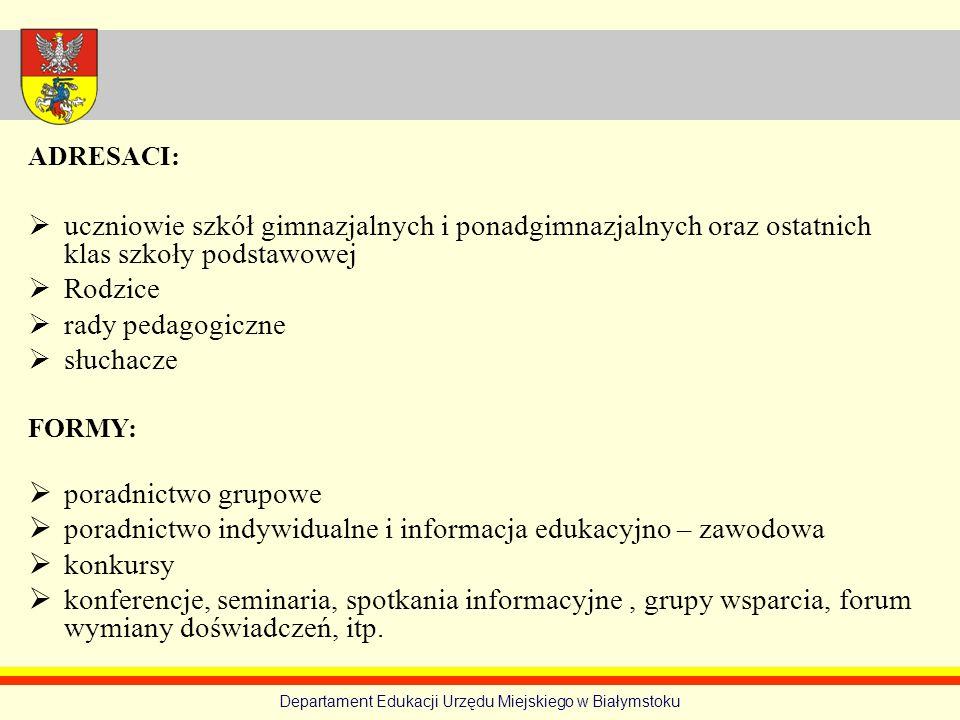 Departament Edukacji Urzędu Miejskiego w Białymstoku ADRESACI: uczniowie szkół gimnazjalnych i ponadgimnazjalnych oraz ostatnich klas szkoły podstawow