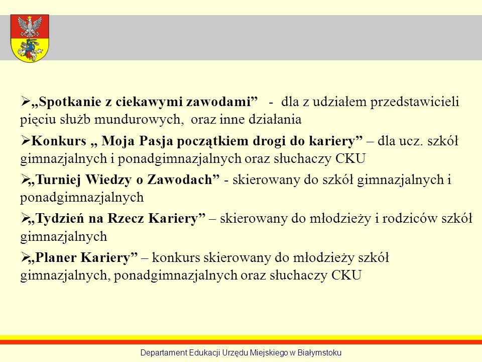 Departament Edukacji Urzędu Miejskiego w Białymstoku Spotkanie z ciekawymi zawodami - dla z udziałem przedstawicieli pięciu służb mundurowych, oraz in