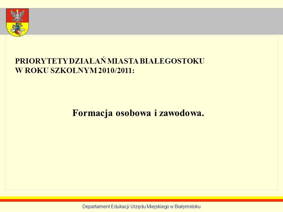 Formacja osobowa i zawodowa. PRIORYTETY DZIAŁAŃ MIASTA BIAŁEGOSTOKU W ROKU SZKOLNYM 2010/2011: