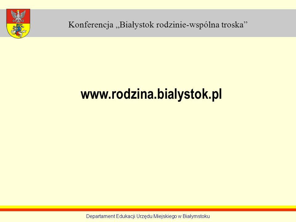 Konferencja Białystok rodzinie-wspólna troska Departament Edukacji Urzędu Miejskiego w Białymstoku www.rodzina.bialystok.pl