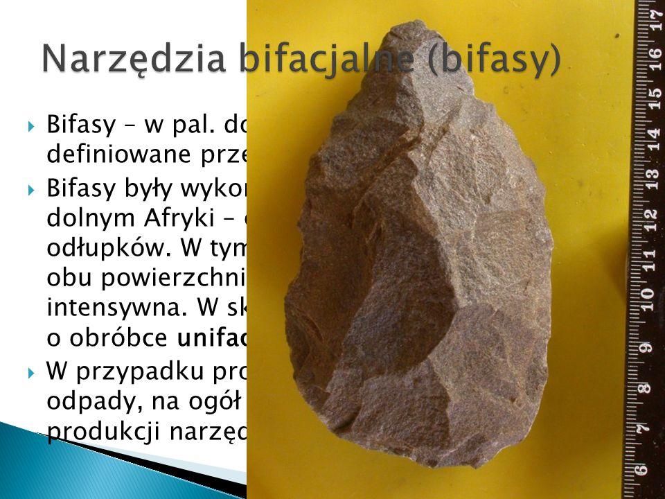 Bifasy – w pal. dolnym gł. pięściaki – są definiowane przez obróbkę dwustronną. Bifasy były wykonywane z brył surowca (w pal. dolnym Afryki – często z