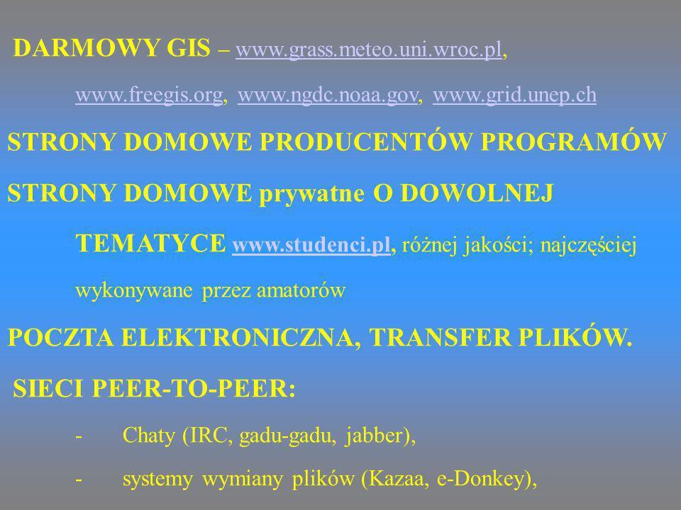 DARMOWY GIS – www.grass.meteo.uni.wroc.pl, www.freegis.org, www.ngdc.noaa.gov, www.grid.unep.chwww.grass.meteo.uni.wroc.pl www.freegis.orgwww.ngdc.noa