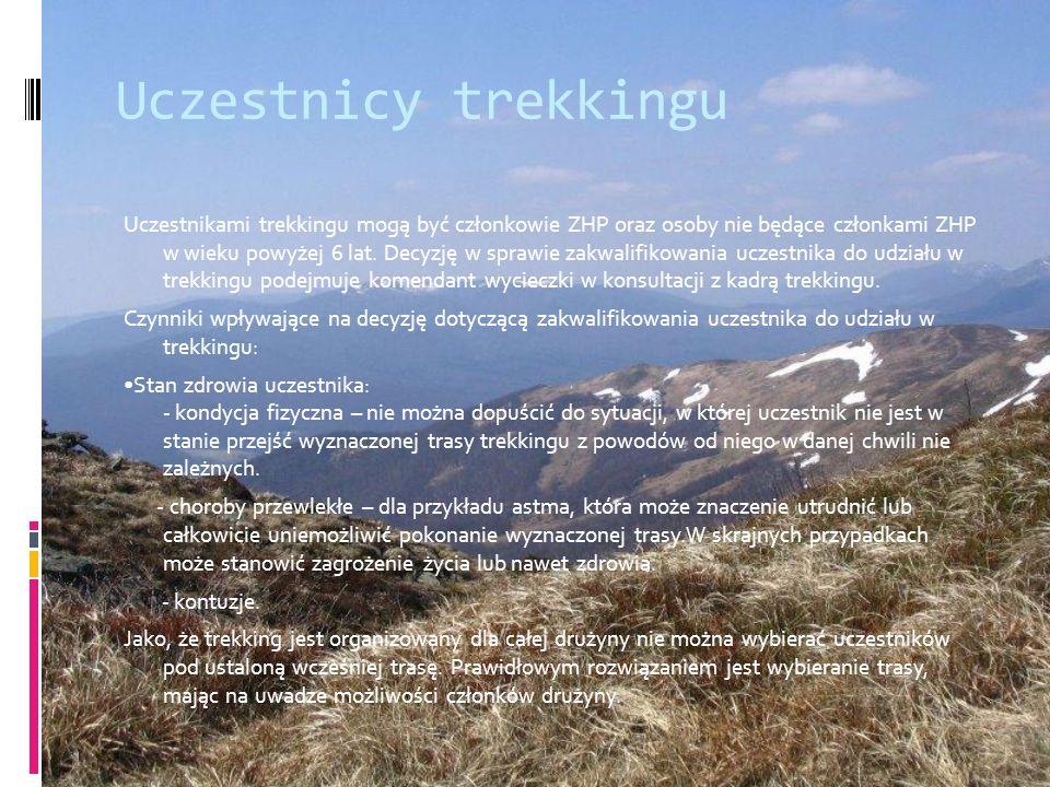 Uczestnicy trekkingu Uczestnikami trekkingu mogą być członkowie ZHP oraz osoby nie będące członkami ZHP w wieku powyżej 6 lat. Decyzję w sprawie zakwa