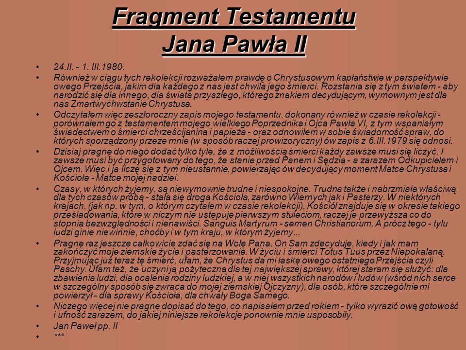 Na cześć Papieża ! Najbliższa sercu Jana Pawła II była piosenka:,,Barka 1. Pan kiedyś stanął nad brzegiem, Szukał ludzi gotowych pójść za Nim Szukał l