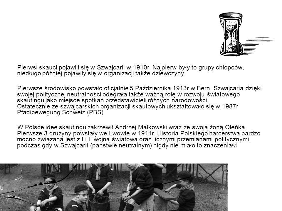 Pierwsi skauci pojawili się w Szwajcarii w 1910r. Najpierw były to grupy chłopców, niedługo później pojawiły się w organizacji także dziewczyny. Pierw