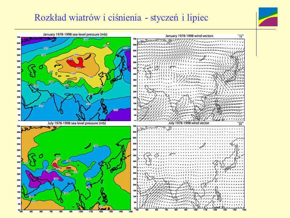 Rozkład wiatrów i ciśnienia - styczeń i lipiec