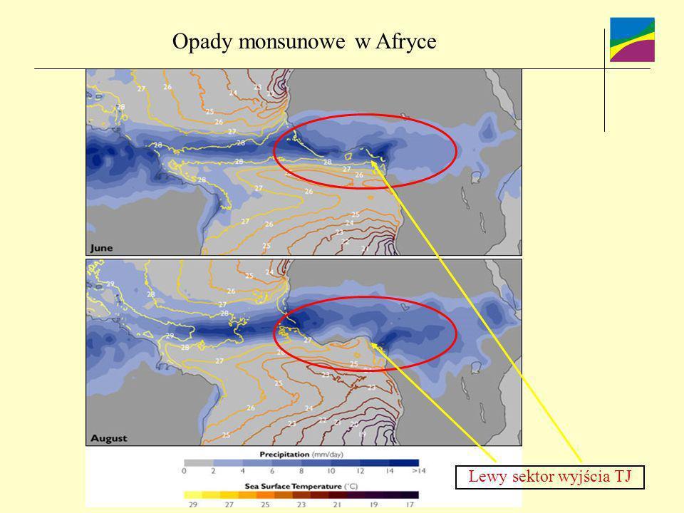 Opady monsunowe w Afryce Lewy sektor wyjścia TJ