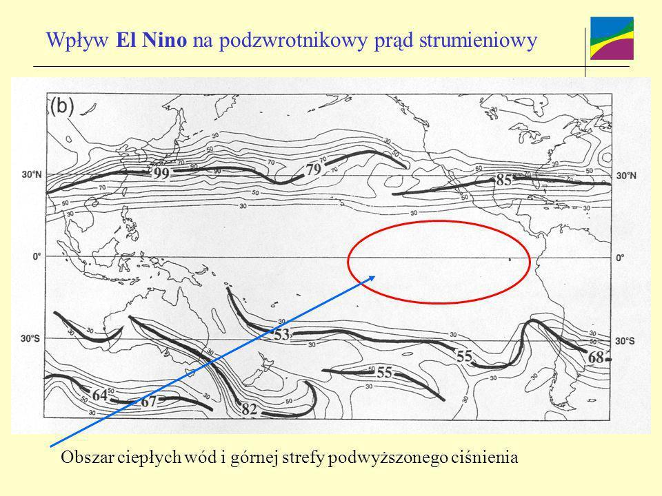 Wpływ El Nino na podzwrotnikowy prąd strumieniowy Obszar ciepłych wód i górnej strefy podwyższonego ciśnienia