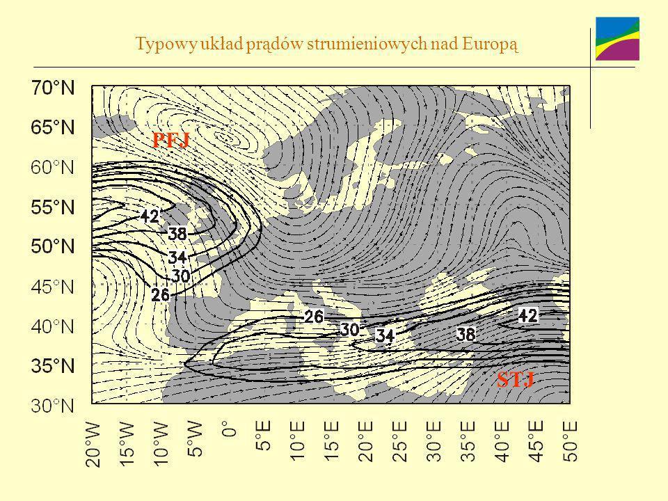 Typowy układ prądów strumieniowych nad Europą PFJ STJ