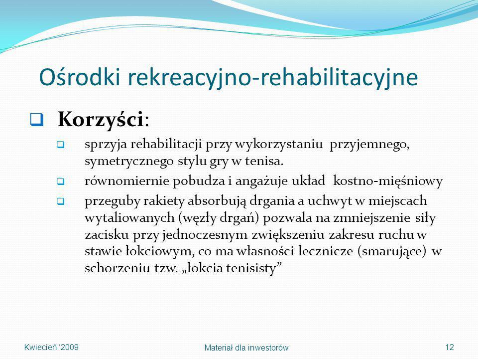 Ośrodki rekreacyjno-rehabilitacyjne Korzyści: sprzyja rehabilitacji przy wykorzystaniu przyjemnego, symetrycznego stylu gry w tenisa. równomiernie pob